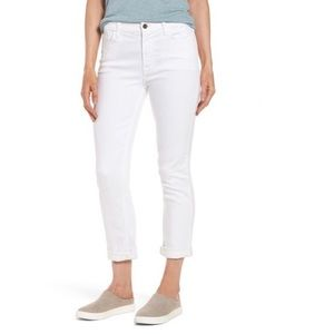 7 for all Mankind Wht. Cropped Straight Leg Jeans